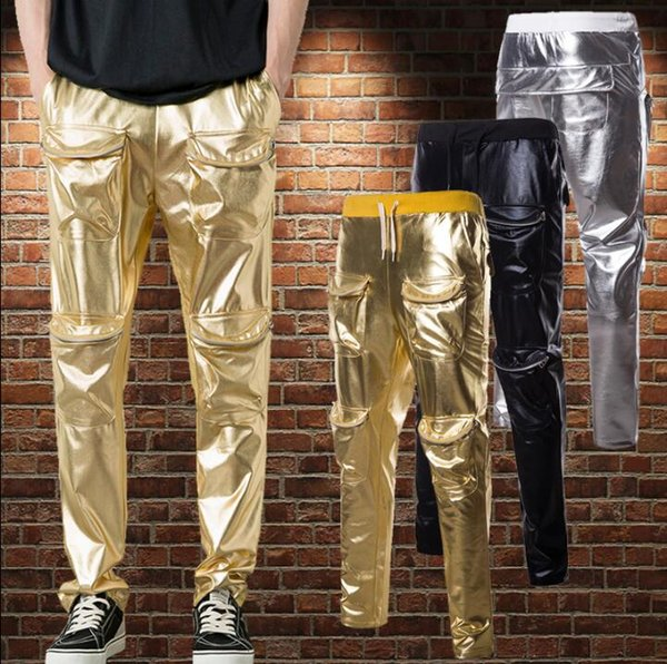 Stage mens pants Gold Silver harem pant men feet trousers singer dance rock Glossy street star style novelty Multi-pocket