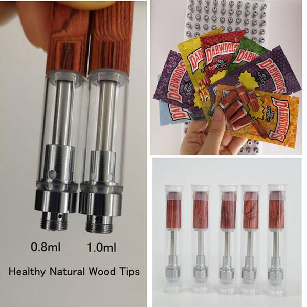 top popular Dabwoods cartridge Wood Tip 0.8ml 1ml Ceramic Vape pen PVC Tube Retail Bag Vape Cartridges Packaging Empty 510 Thread Carts 2021