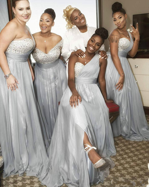 mismatch Top Beaded Grey bridesmaid dresses One Shoulder Floor Length Chiffon Silver south africa Ruffled Long Slit Prom Gown For Cheap 2019