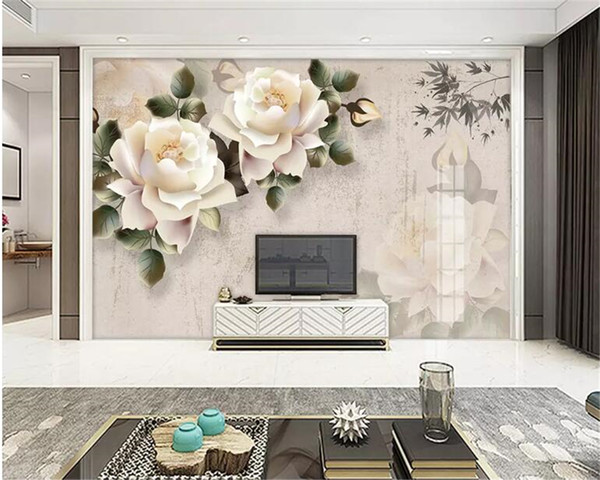 Beibehang Custom wallpaper mural Elegant white rose fashion Marriage room TV background wall decorative painting 3d wallpaper