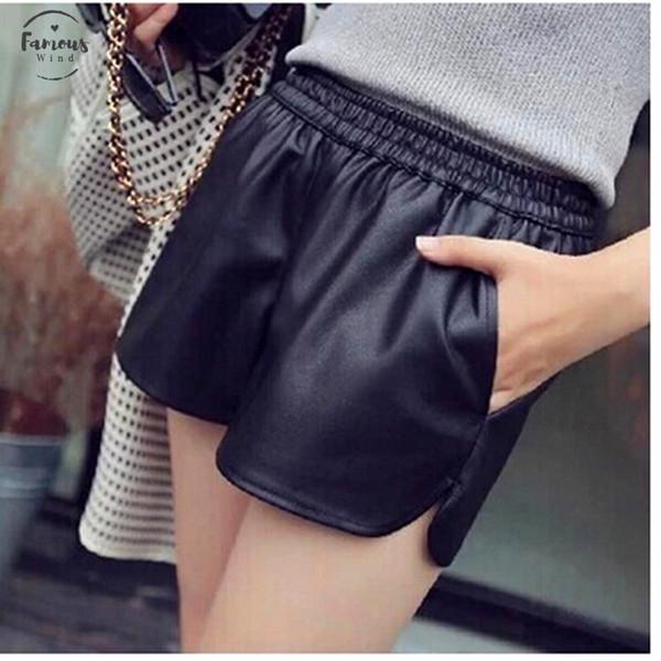 Pantalones cortos de Nueva S-XXL de cuero de la PU de las mujeres de poliéster Negro corta de alta calidad con los bolsillos de los pantalones flojos de los cortocircuitos ocasionales Dk6162