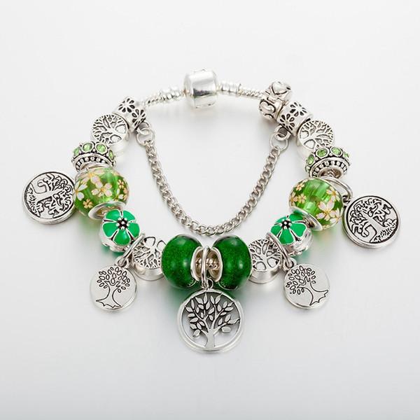 El diseño de moda nuevas pulseras solo producto de las mujeres calientes pulsera colgante chica moneda de árbol de la sabiduría de cuentas de vidrio verde de alta calidad