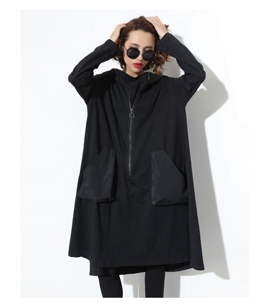 Nouveau 2019 Japanese Style Femmes Hiver Noir capuche robe à manches longues poche zippée Lady Plus Size Holiday Casual Midi Dress