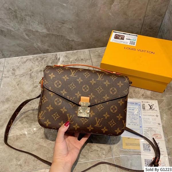 designer bolsas bolsas de couro genuíno 25CM marrom das senhoras Mensageiro Feminino bolsa de ombro (Nenhuma caixa)