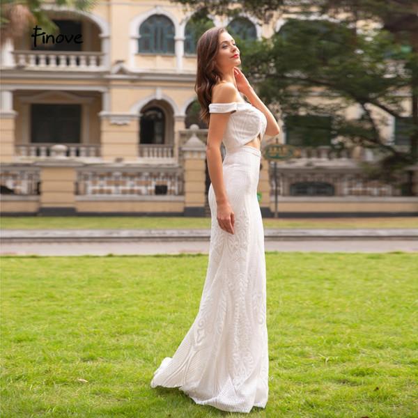 Finove Prom Dress 2019 Long Sexy V Neck Cut Out Waist Sparkle Sequiuned Mermaid Off The Shoulder Woman Dress vestido de fiesta#14231