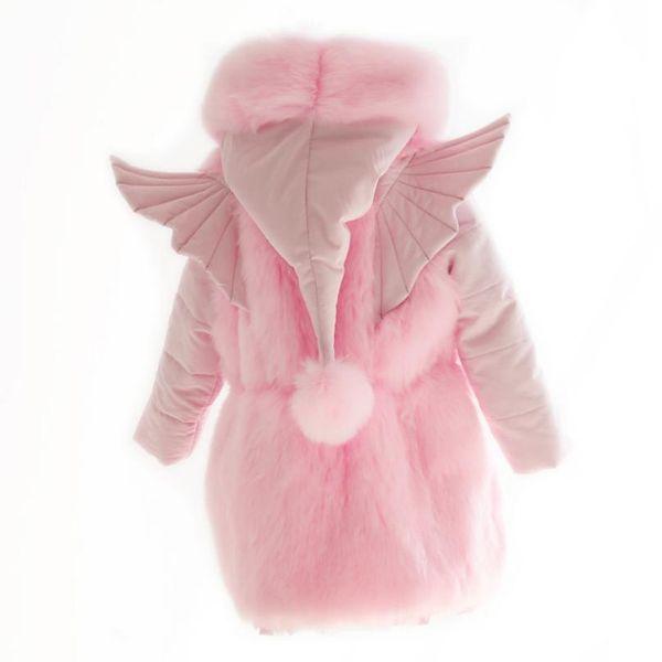 Winter Faux Fox Fur Coat Parkas For Girls Pink Thicken Warm Hooded Big Fur Collar Jacket Kids Clothes Children's Outwear Y40