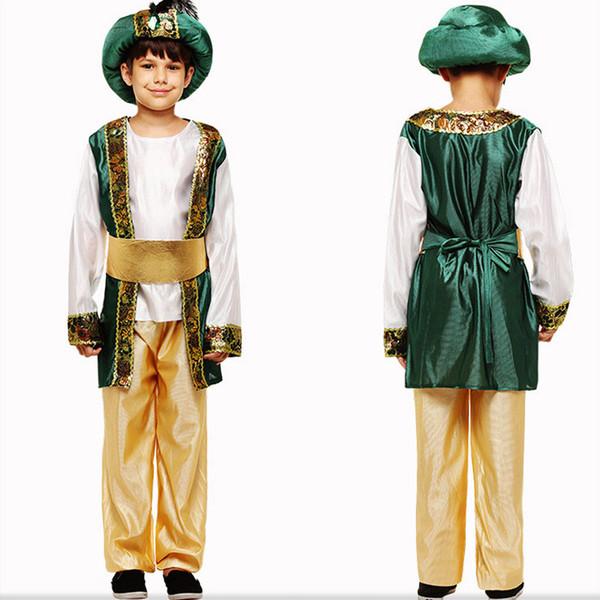 Детский День Маскарадный Костюм Детский Взрослый Король Арабский Египетский Костюм Костюм Четырех Частей Зеленый Мальчик Принц Театральный Костюм 57