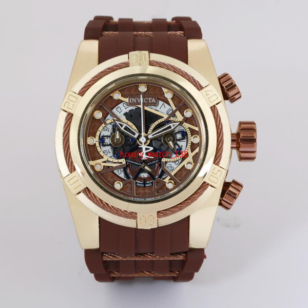 19 invicta 52mm quartz wri twatch all pointer work full function rubber band tainle teel dial port watche brand watch e