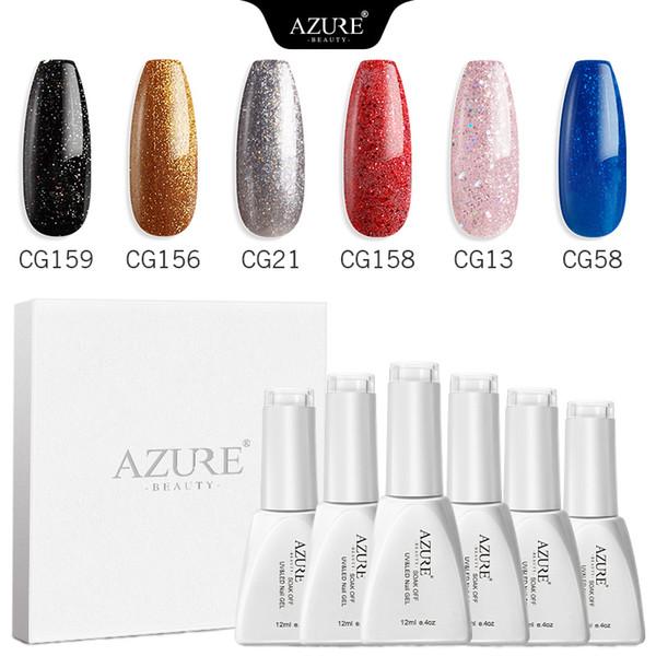 Clavo azul belleza 6Pcs / Lot del gel del color del brillo de la laca laca de uñas de gel UV semipermanente de uñas kit empapa de ultravioleta del gel /