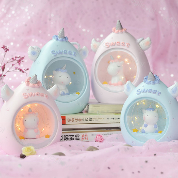Karikatür Unicorn LED Gece Lambası Bebek Kreş Lambaları Masa Dekoratif Işık Çocuk Çocuk Oyuncakları Doğum Günü Hediye Bırak DHL