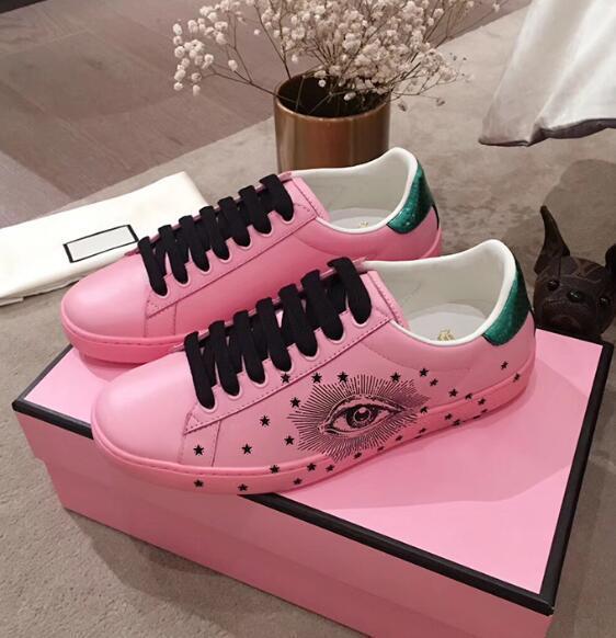 Nouvelle Arrivée Mode Femmes Casual Chaussures De Luxe Designer Sneakers Chaussures Couleur Fluorescent En Cuir Véritable Jolis Yeux Chaussure Brodée 61