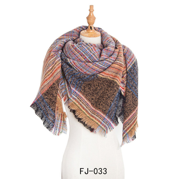 High Quality Europe In Autumn And Winter New Ring Yarn Increase Double-Sided Color Plaid Barbed Wool Square Scarf Ladies Scarf