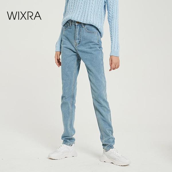 Wixra Basic Jeans Soft Pants Harem Jeans Female Straight All Match Basic High Waist Jeans Femme Long Denim Pants For Women T200103