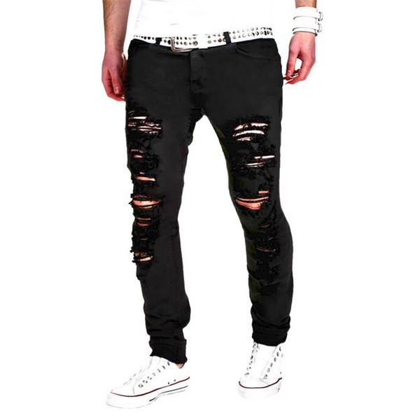 MoneRffi New Fashion Men Hole Jeans 2018 Summer Black White Skinny Slim Fit Designer Distressed Ripped Destroyed Male Pants
