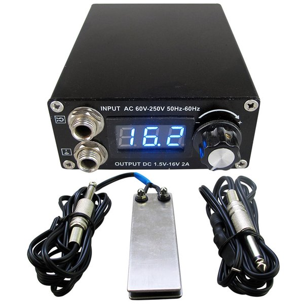 Tattoo Power Supply Set Kit LCD Display Double Ourput Digital Tattoo Power Supply Foot Pedal Switch Clip Cord Kit