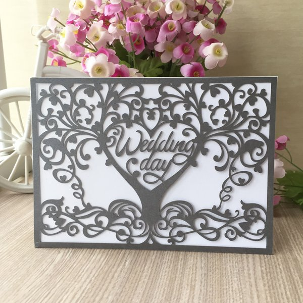 35 PCS /lot Wedding Day Invitation Card Blessing Engagement Happiness Invitations With Hollow Laser Cut Lace Tree Supplies Pearl Paper