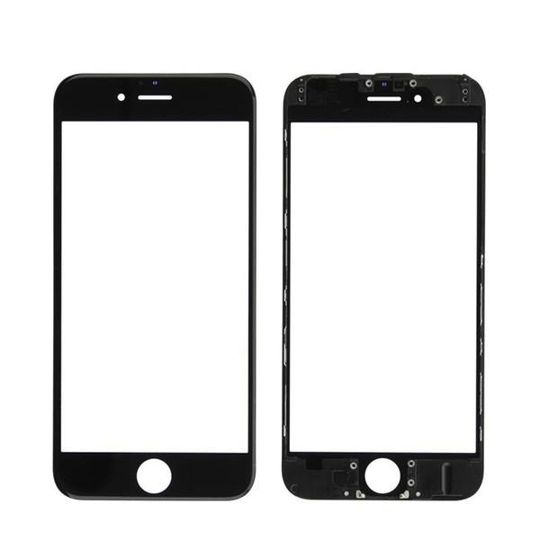 Für iphone 5s 5c 6 6s 7 8 plus front touchscreen panel äußere glaslinse + kaltpressung mittleren rahmen lünette + oca installiert