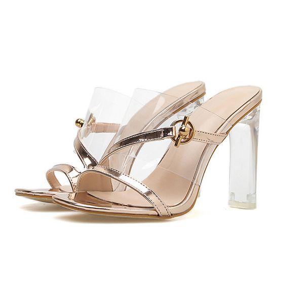 ebaf43e4c17 Lady heels flip flop slippers jelly sandals shoes sandals high heel square  head transparent plastic female shoes . LX-103