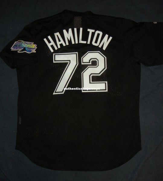 Дешевые ретро #72 Джош Гамильтон величественный Тампа-Бей дьявол черный ватин практика Джерси XL мужские сшитые бейсбольные майки