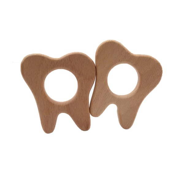4pcs Beech Wooden Tooth Shape Teether Baby Teethers Infants Teething Toys Baby Accessories For Baby Necklace Making Pacifier