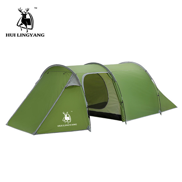 HUILINGYANG Outdoor Products 3-4 People Double Room One Room One Hall Tunnel Tent Camping Family Camping Rain Tent