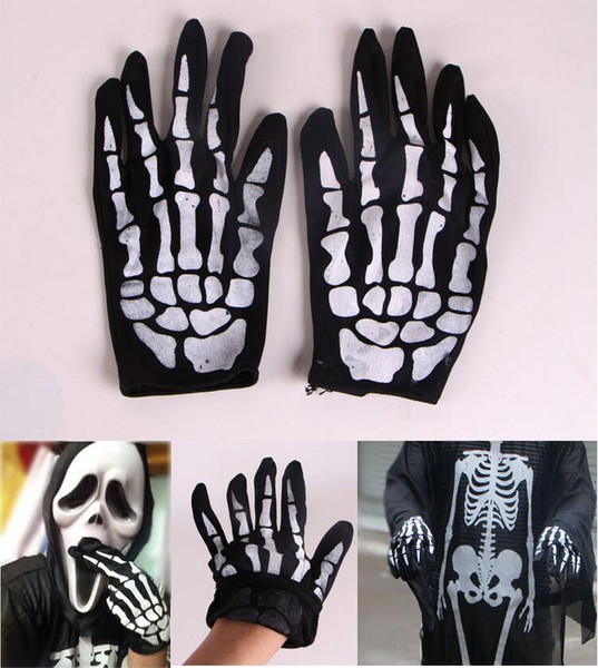 Halloween supplies props decorations fancy dress party horror Skeleton ghost gloves bone cloth decorative gloves wholesale