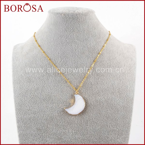 """BOROSA Design 5/10PCS 16"""" Fashion Gold Color Natural White Shell Crescent Charm Pendant Necklace Jewelry for Women Girls G1602-N"""