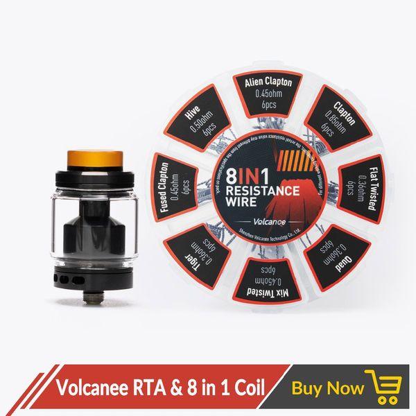 Volcanee RTA Atomizer с двойной катушкой и 8-в-1 предварительно собранной катушкой Vaper Cotton для электронной сигареты Liquid Box Mod Juice Vape