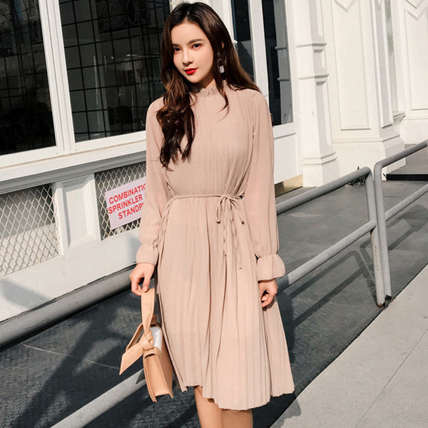 woman clothes long dress women two layers chiffon pleated dress 2019 spring autumn solid vintage elegant loose casual office dress