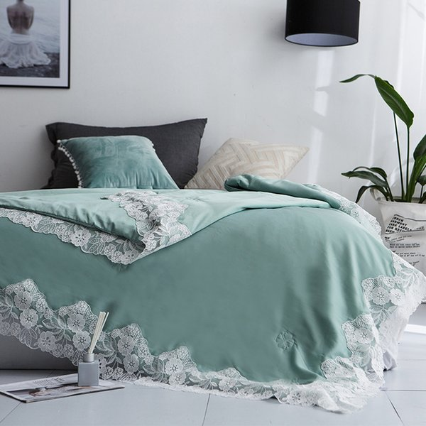 Loverly Elegant European Reversible Pinsonic Fashion Cubrecama/Coverlet/ Bedspread Quilt/Summer Duvet Cover Quilt Lace Blankets 2019