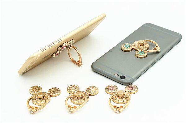 Anillo de dedo de diamantes de imitación lindo soporte para teléfono móvil Soporte de anillo Moda Cartoon Mickey Smartphone Anillo Holder para iPhone