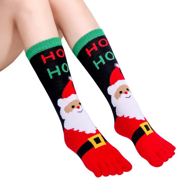 Donne di età Calzini di natale Carino modello Cartoon Babbo Natale Five Finger calzino invernali Calzini di Natale cosplay
