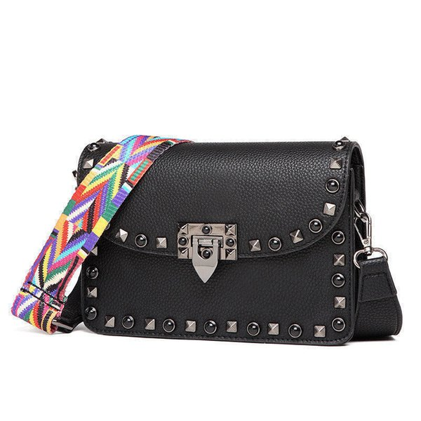 2019 good quality Women Small Flap Rivet Hand Clutch Bags Female Leather Fashion Crossbody Bag Ladies Messenger Shoulder Bag For Girls