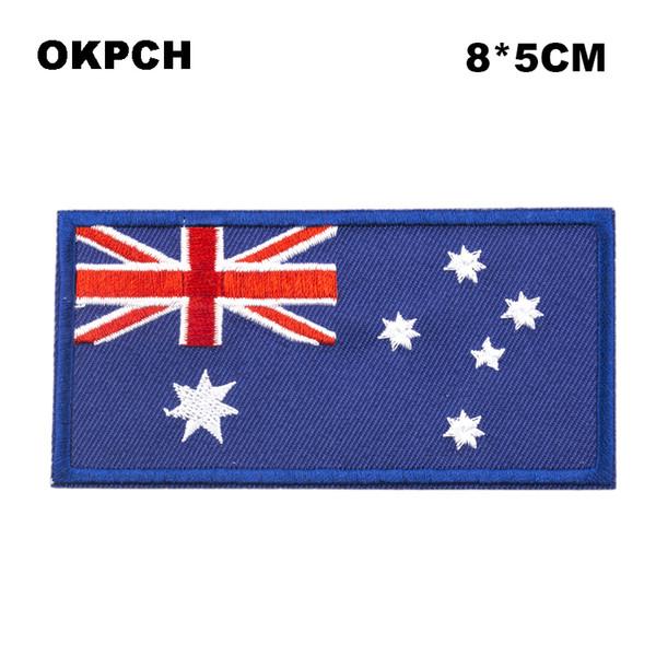 Freies Verschiffen 8 * 5cm Australien Form Mexiko Markierungsfahnen-Stickerei-Eisen auf Flecken PT0021-R