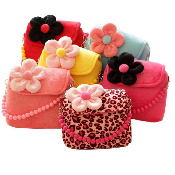 Niños Lindo Bolso Estilo Coreano Estampado de leopardo Color Patrón de flor Hombro Bolso de mano Moda Cuentas de jardín de infantes Bolsas cuadradas