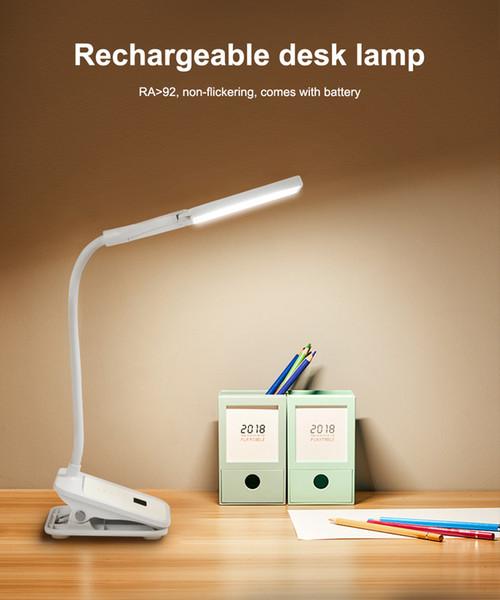 Wiederaufladbare Doppelkopf-7000K-Augenschutz-LED-Clip-Tischleuchte Berühren Sie Ein / Aus 3Modes LED-Leselampe, damit die Leser sie verwenden können