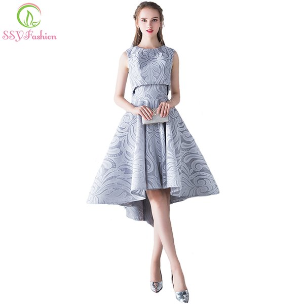 wholesale New Simple Elegant Evening Dress Bride Grey Lace Two Pieces High/low Sleeveless Formal Party Gown Robe De
