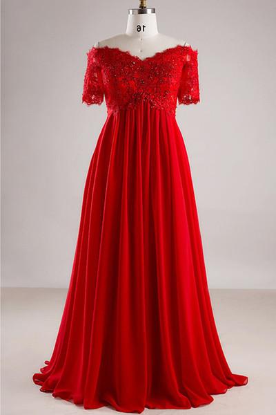 Robes de bal Sexy en mousseline de soie rouge, col en forme de coeur, manches a une épaule, robe de beauté, bretelle à l'arrière et foulée