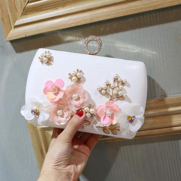 2019 Women Handbags Hot Handmade Evening Bags New Chain Appliques Pattern Flowers Quality Wedding Dinner Banquet Shoulder Bags