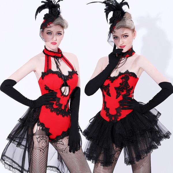Mode Ballsaal Tragen Frauen Bühnenkostüm Schwarze Spitze Röcke Rote Strumpfhosen Karneval Sexy Nachtclub Kleidung Sänger Tänzerin Kleidung