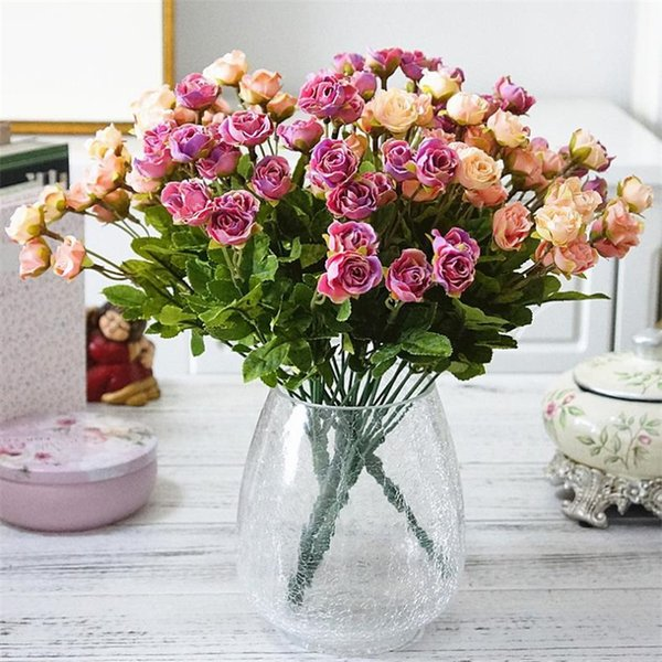 """Fake Rose Bunch (9 stems/piece) 13.78"""" Length Simulation mini Roses for Wedding Home Showcase Decorative Artificial Flowers"""