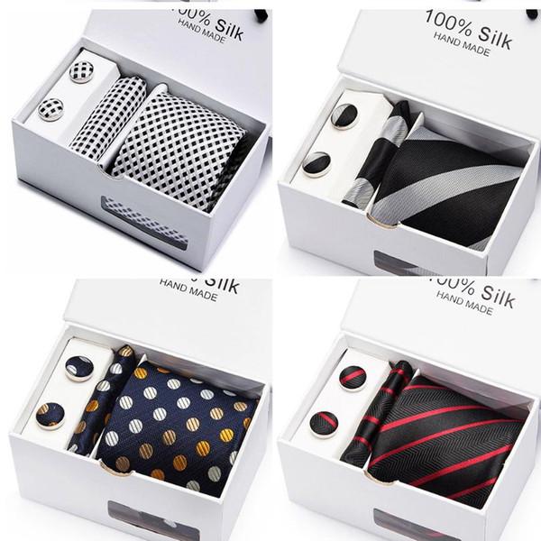 Cravatta da uomo in solido nero 100% seta classica cravatta + Hanky + gemelli per matrimonio formale da uomo 2 pezzi / lotto cravatta all'ingrosso
