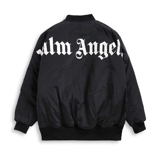2019SS Palmiye Melekleri Mektup baskı Erkek Kadın Ceket Hip Hop Palmiye Melekleri Giyim Moda Omuz Üst ceket OVERSIZE Siyah beyaz S-XL