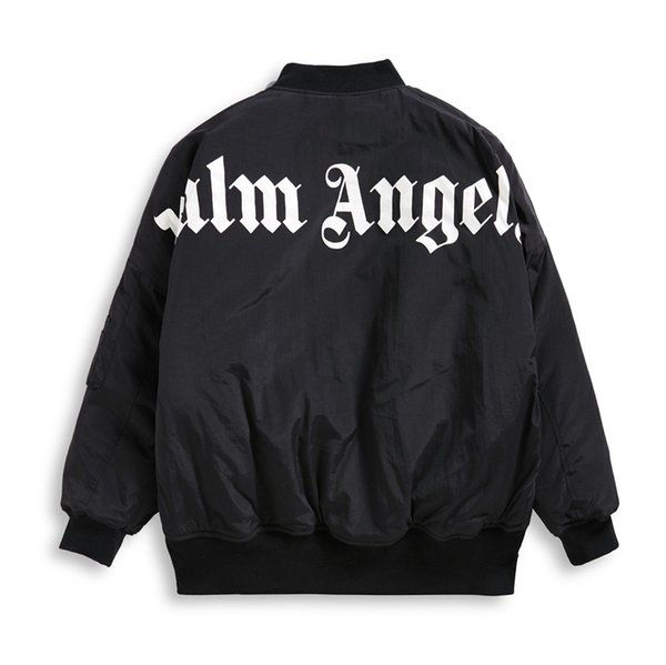 2019SS Palm Angels Carta impressão Homens Mulheres Jaqueta Hip Hop Palm Angels Roupas Moda Ombro Top coat OVERSIZE Preto branco S-XL