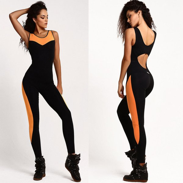 Women Tracksuit Yoga Set Fitness Sport Suit Backless Gym Running Set Sportswear Leggings Tight Jumpsuits Workout Sports Clothing