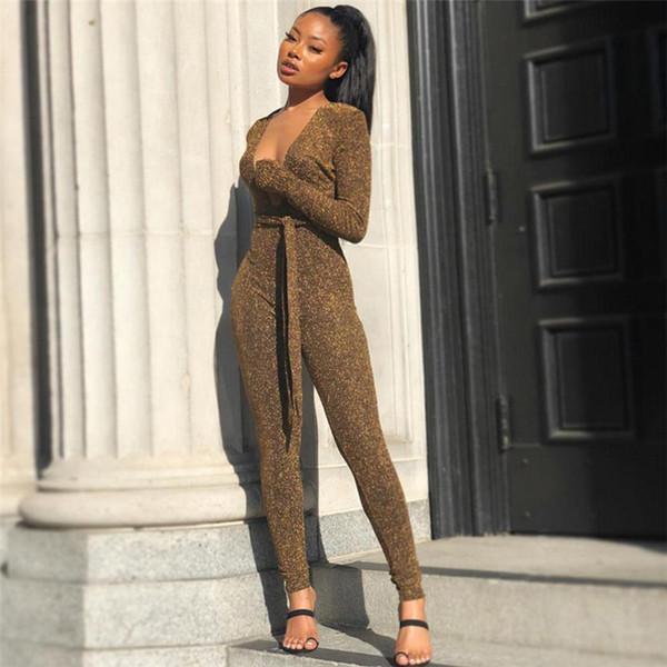 Glitter Seksi Kadın Tulumlar Derin V Boyun Üst Uzun Pantolon Bayanlar Sparkly Clubwear Katı Uzun Kollu Tulum