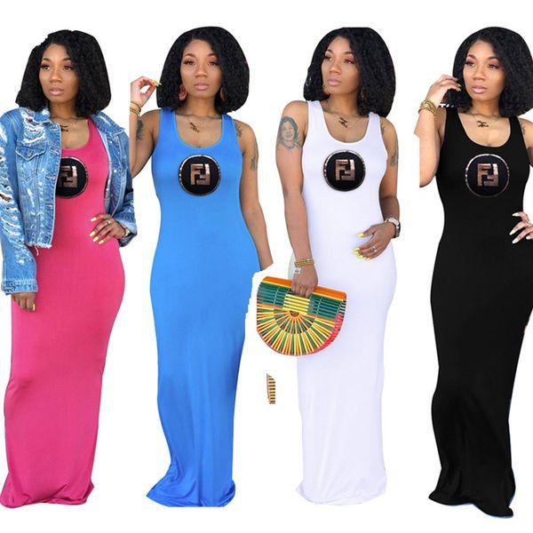 Double F Letter Print Elegant Women Long Dress Solid Color Sleeveless Vest Skirts Slim Bodycon Maxi Dresses Evening Party Beach Skirt C42407