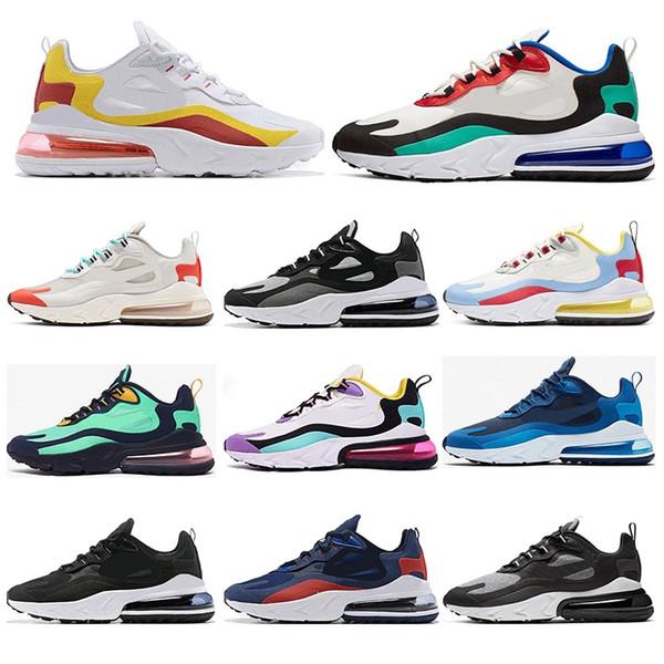 Acheter Nike Air Max 270 React Chaussures De Course Pour Les Hommes De Qualité Supérieure BRIGHT VIOLET OPTICAL BLUE VOID Les Entraîneurs De Femmes