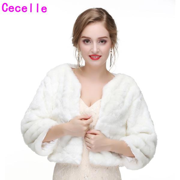 Fildişi Uzun Kollu gelinin Kış Faux Fur Gelin Ceketler 2019 Yeni Kadın Sıcak Kış Faux Kürk Pelerin