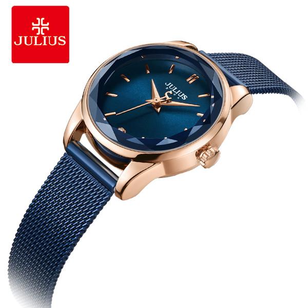 Julius montre verre de cristal irrégulier femme Slim montre de la mode bracelet de conception simple cadran rond en or rose JA-1040